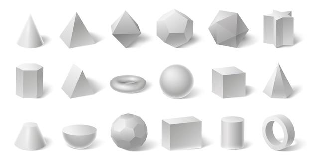 Białe geometryczne kształty 3d. forma geometrii dla edukacji. sześciokątny i trójkątny pryzmat, cylinder i stożek, kula i piramida na białym tle, zestaw ilustracji wektorowych