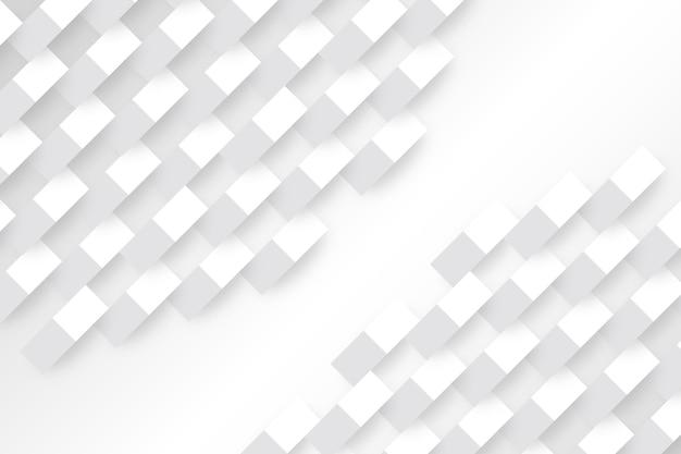 Białe geometryczne kształty w stylu 3d papieru