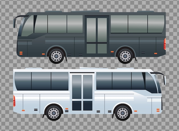 Białe i czarne autobusy pojazdów transportu publicznego