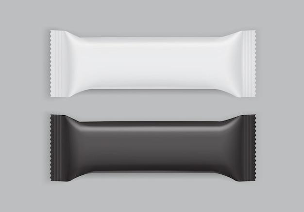 Białe i czarne opakowanie papierowe na białym tle