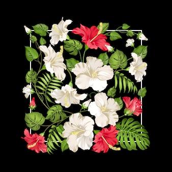 Białe i czerwone kwiaty hibiskusa w prostokątnej ramce na czarno