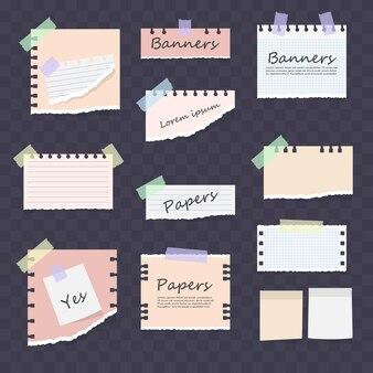 Białe i kolorowe paski notatki, zeszyt, zestaw arkuszy notesu