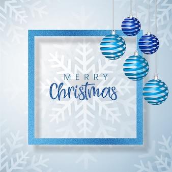 Białe i niebieskie tło ramki wesołych świąt