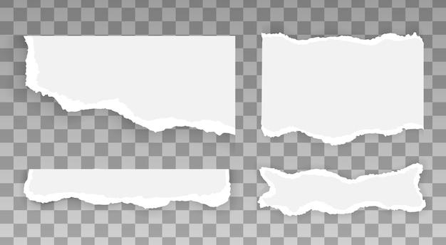 Białe i szare realistyczne poziome paski papieru z miejscem na tekst, zestaw zgranych i podartych pasków papieru, kawałki poszarpane, szablon projektu banera do druku w internecie i druku, reklamy, prezentacji,