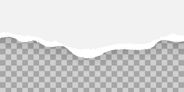 Białe i szare realistyczne poziome paski papieru z miejscem na tekst, zestaw zgranych i podartych pasków papieru.