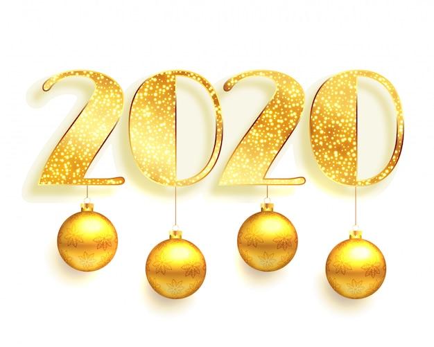 Białe i złote 2020 w błyszczącym tle