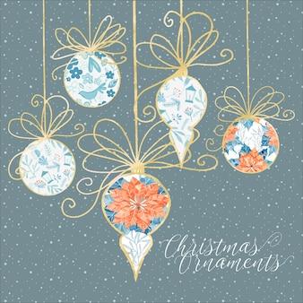 Białe i złote ozdoby świąteczne