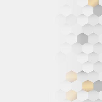 Białe i złote tło wzór sześciokąta