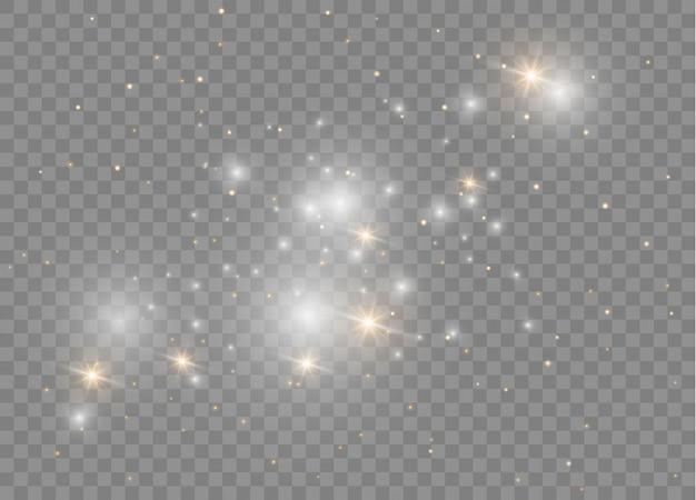 Białe iskry błyszczą specjalny efekt świetlny. lśniące magiczne cząsteczki pyłu.