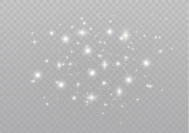 Białe iskry błyszczą specjalnym efektem świetlnym. błyszczy na przezroczystym tle. lśniące, magiczne cząsteczki kurzu
