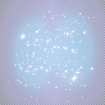 Białe iskry błyszczą specjalnym efektem świetlnym. lśniące, magiczne cząsteczki kurzu
