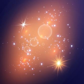 Białe iskry błyszczą specjalnym efektem świetlnym. s iskrzące magiczne cząsteczki kurzu