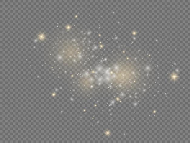 Białe iskry gwiazda świecą efekt świątecznego blasku musujące magiczne cząsteczki kurzu błyszczą