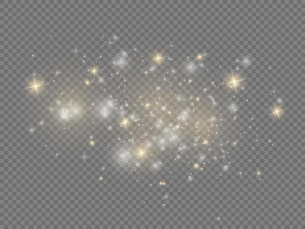 Białe Iskry Gwiazda świecą Efekt świątecznego Blasku Musujące Magiczne Cząsteczki Kurzu Błyszczą Premium Wektorów