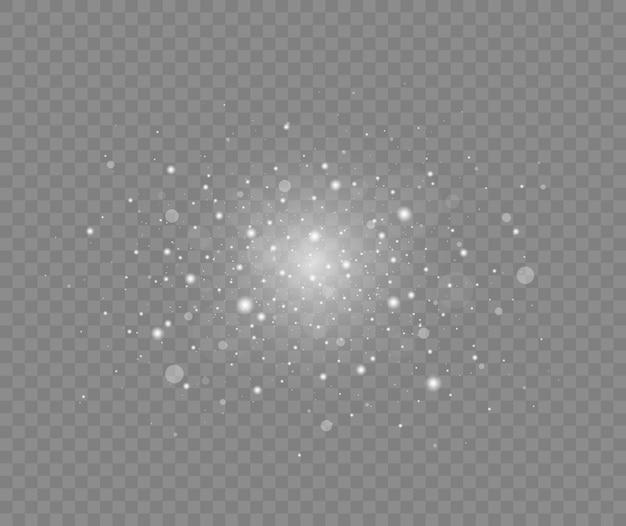Białe iskry i gwiazdy błyszczą specjalny efekt świetlny świąteczny abstrakcyjny wzór