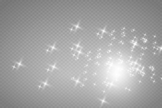 Białe iskry i złote gwiazdy błyszczą specjalny efekt świetlny