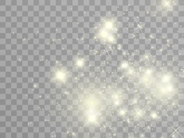 Białe iskry i złote gwiazdy błyszczą specjalnym efektem świetlnym. błyszczy na przezroczystym tle. boże narodzenie abstrakcyjny wzór. lśniące, magiczne cząsteczki kurzu