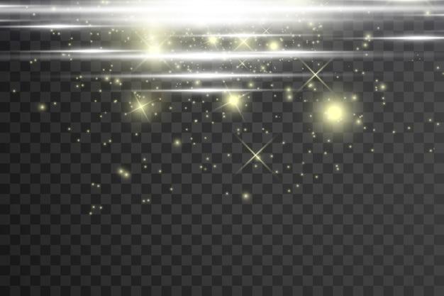 Białe iskry i złote gwiazdy błyszczą specjalnym efektem świetlnym. błyszczy na przezroczystym tle.