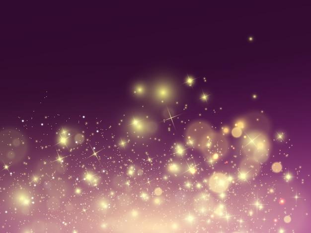 Białe iskry i złote gwiazdy błyszczą specjalnym efektem świetlnym. lśniące, magiczne cząsteczki kurzu