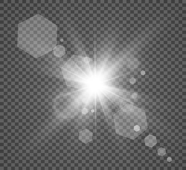 Białe iskry ze specjalnym światłem na przezroczystym tle