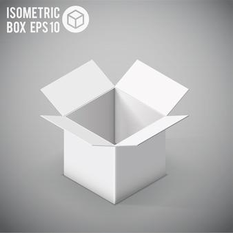 Białe izometryczne pudełko makieta