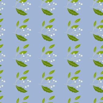 Białe jagody i zielone liście bezszwowe doodle wzór