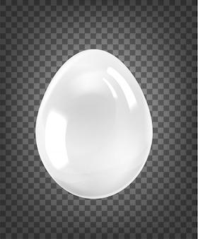 Białe jajko z połyskiem na białym na czarnym przezroczystym tle.