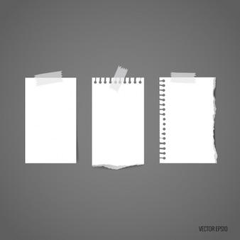 Białe kawałki papieru kolekcji