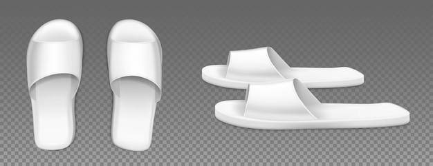 Białe klapki obuwie domowe z widokiem z góry iz boku