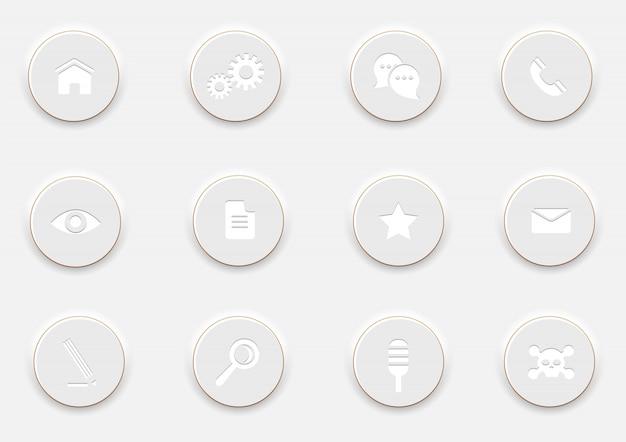 Białe komputerowe ikony na okrągłych guzikach