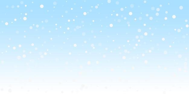 Białe kropki boże narodzenie tło. subtelne latające płatki śniegu i gwiazdy na tle zimowego nieba. niesamowity zimowy szablon nakładki srebrnego płatka śniegu. urzekająca ilustracja wektorowa.