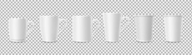 Białe kubki. realistyczny kubek 3d na przezroczystym tle.