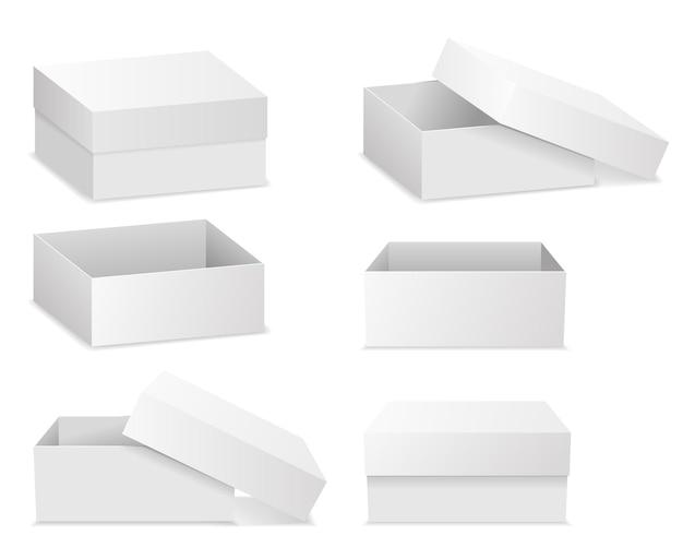 Białe kwadratowe pudełka płaskie na białym tle.