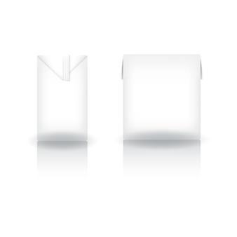 Białe kwadratowe pudełko na mleko, sok, kawę, herbatę, mleko kokosowe lub nabiał