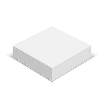 Białe kwadratowe pudełko. pakiet. ilustracja.