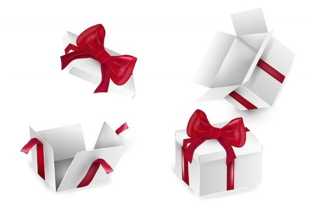 Białe kwadratowe pudełko z czerwonymi wstążkami. puste opakowanie realistyczne pudełko kartonowe, pojemnik, opakowanie. szablon szablonu jest gotowy do użycia. wszystkiego najlepszego, boże narodzenie, nowy rok