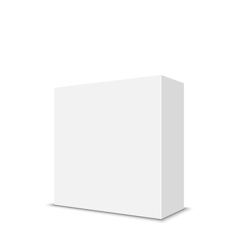 Białe Kwadratowe Pudełko. . Premium Wektorów