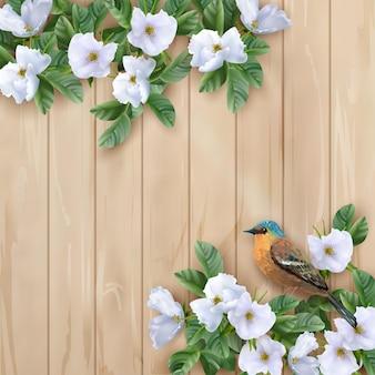 Białe kwiaty i ptak na podłoże drewniane. idealny na ślub, powitanie lub projekt zaproszenia