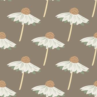 Białe kwiaty kreatywne gerbera bezszwowe doodle wzór.