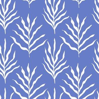 Białe liście wzór na białym tle na ilustracji wektorowych niebieski. tło roślinne.