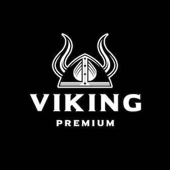 Białe logo hełmu wikinga