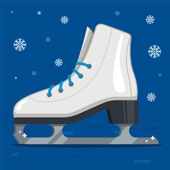 Białe łyżwy do jazdy figurowej zimą. zewnętrzne lodowisko. płaska ilustracja.