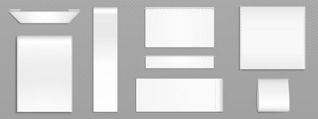 Białe metki materiałowe, etykiety materiałowe na tekstylia