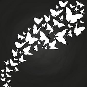 Białe motyle sylwetki na tablicy