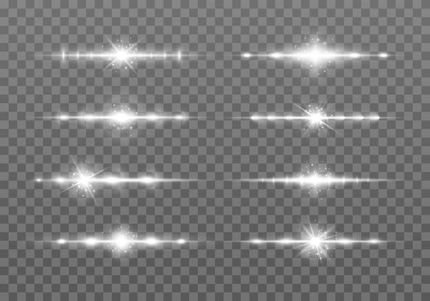 Białe odblaski z poziomymi soczewkami pakują wiązki laserowe rozbłyski światła wiązki laserowe poziome promienie światła
