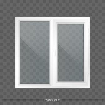 Białe okienko metalowo-plastikowe z przezroczystymi szkłami. nowoczesne okno w realistycznym stylu.
