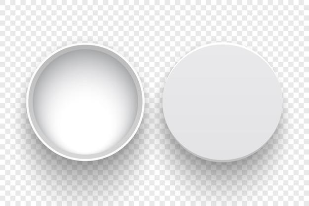 Białe okrągłe otwarte pudełko z pokrywą na przezroczystym tle
