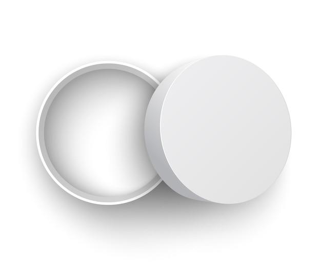 Białe, okrągłe, otwarte pudełko z wieczkiem