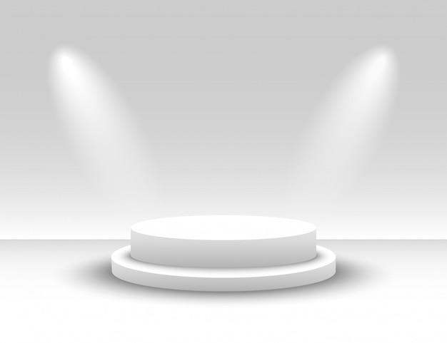 Białe okrągłe podium. biały okrągły cokół. zwycięskie podium oświetlone reflektorami. scena. wektor