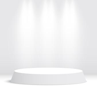 Białe okrągłe podium. cokół z reflektorami. ilustracja.